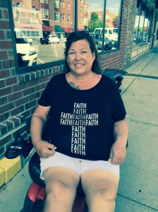 Woman in Faith Shirt